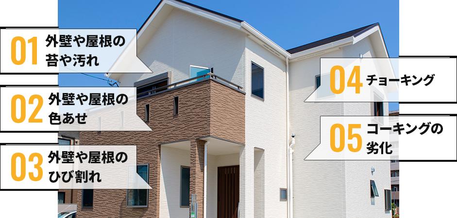 外壁や屋根の苔や汚れ、外壁や屋根の色あせ、外壁や屋根のひび割れ、チョーキング、コーキングの劣化