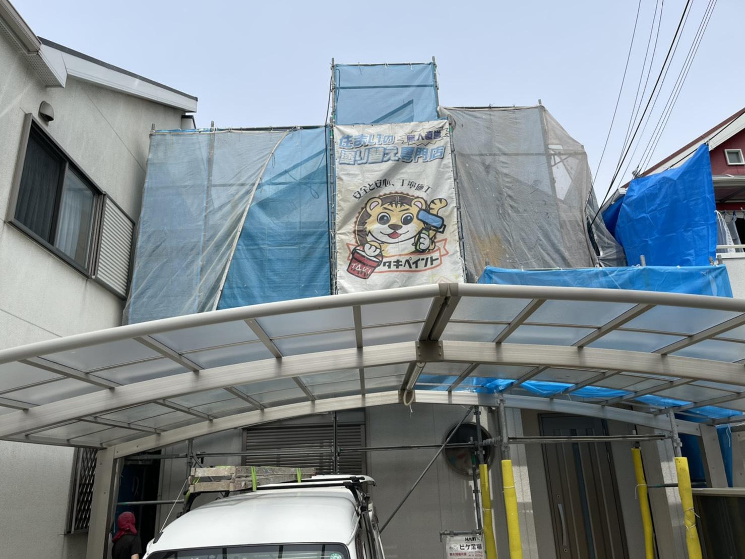泉大津市O様邸 屋根・外壁塗装工事着工しました!!